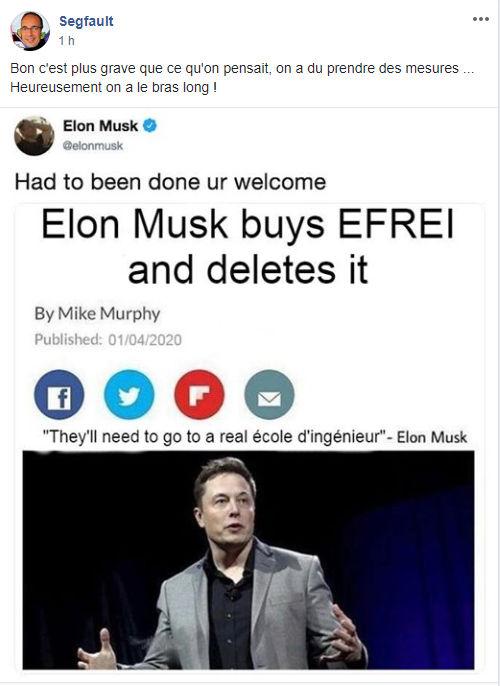 Segfault a convié Elon Musk à supprimer l'Efrei