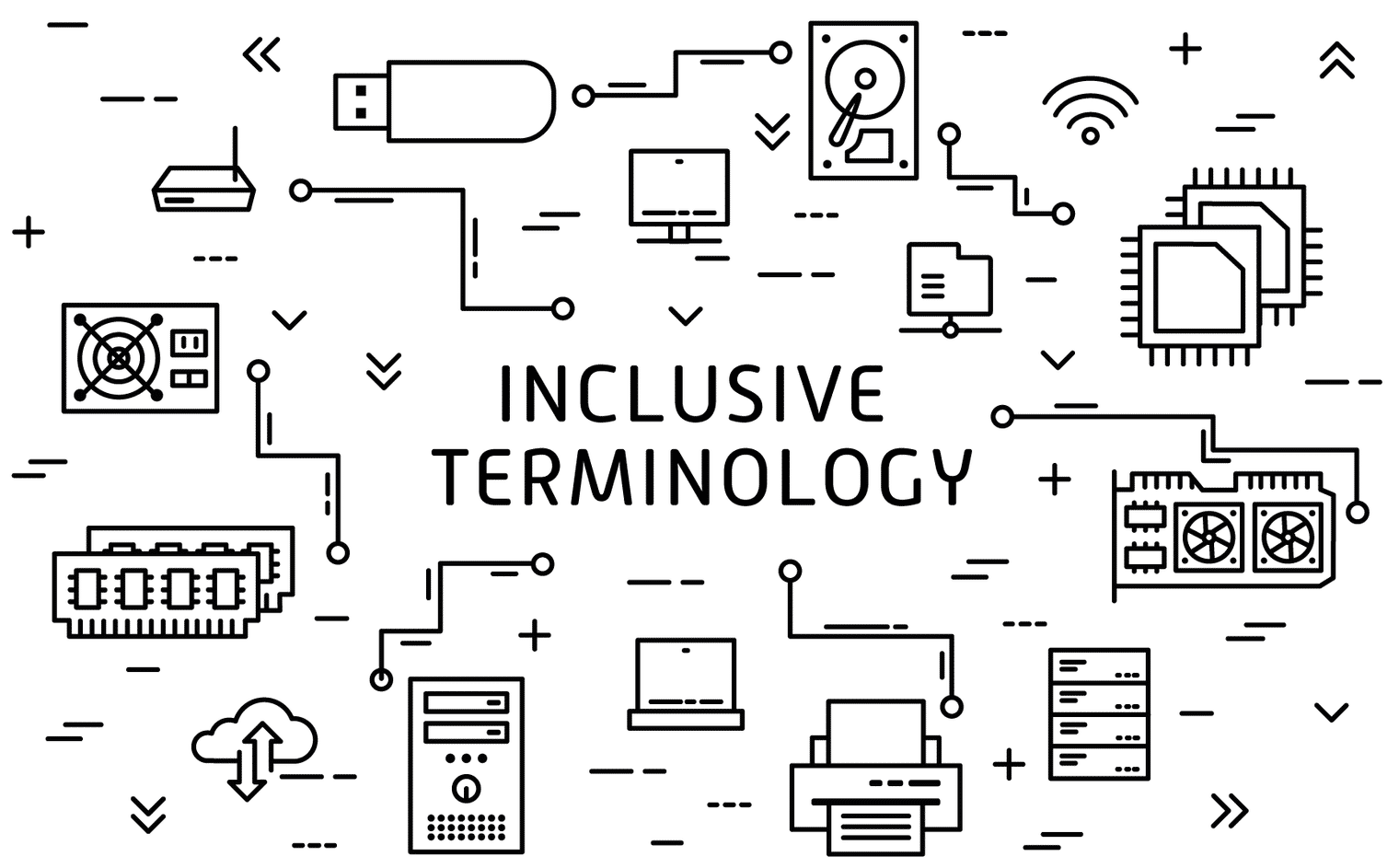 """A graphic depicting technology and the phrase """"inclusive terminology"""""""