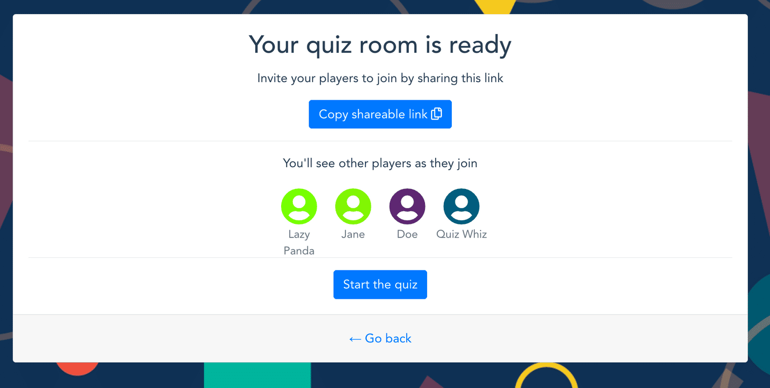 A screenshot of the live quiz application