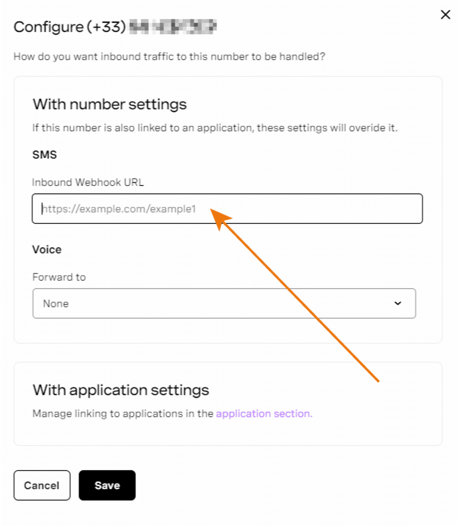 A screenshot of the form to add your webhook URL