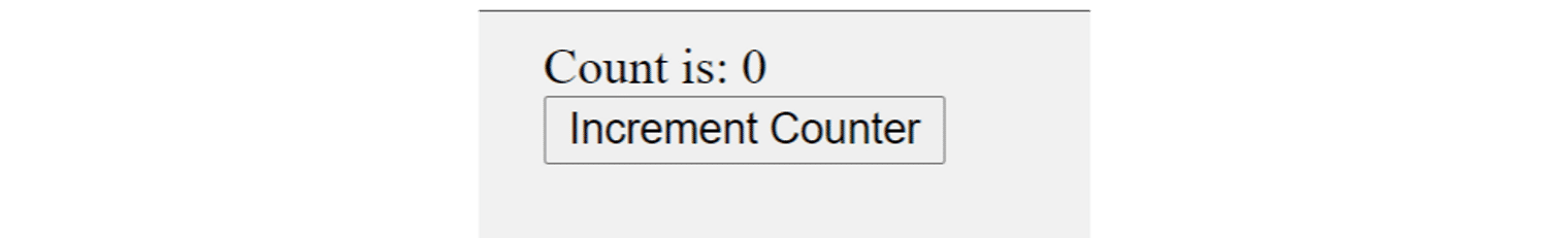 a heading that says 'count is 0' and a button that says 'increment counter'