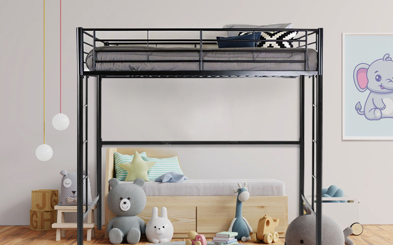 metal loft bed for twins