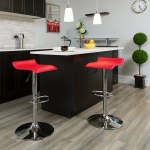 Contemporary Red Vinyl Adjustable Height Barstool with Solid Wave Seat and Chrome Base