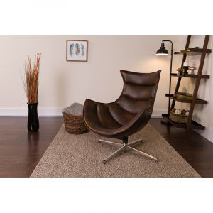 Bomber Jacket LeatherSoft Swivel Cocoon Chair