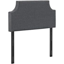 Modway Laura Upholstered Fabric Headboard Twin Size with Cut-Out Edges and Nailhead Trim in Gray