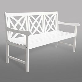 Vifah Bradley Outdoor Bench in White