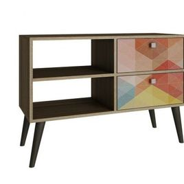 Accentuations by Manhattan Comfort Practical Dalarna TV Stand with 2 Open Shelves and 2-Drawers in Oak and Colorful Stamp Door
