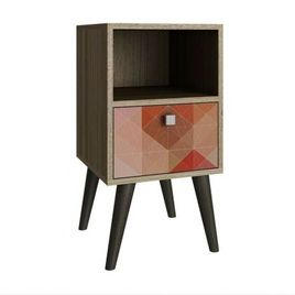 Manhattan Comfort Abisko Stylish Side Table with 1-Cubby and 1-Drawer in Oak and Colorful Stamp Door
