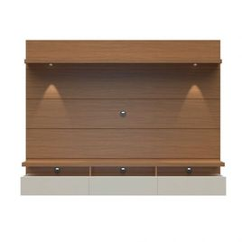 Manhattan Comfort Cabrini 2.2 Floating Wall Theater Entertainment Center in Maple Cream and Off White
