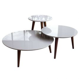 Manhattan Comfort 3-Piece Modern Moore Round End Table in Off White