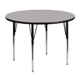 48'' Round Grey Thermal Laminate Activity Table - Standard Height Adjustable Legs