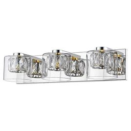 Access Lighting Private Collection 3-Light Crystal Vanity - Mirrored Stainless Steel Finish with Clear Crystal Vanity and Clear Glass Shade
