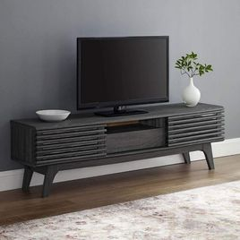 Zozulu Zender Mid-Century Modern Low Profile 59 Inch TV Stand in Charcoal