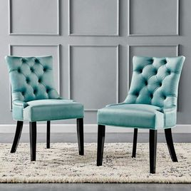 Modway Regent Tufted Performance Velvet Dining Side Chairs - Set of 2, Mint