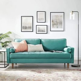 Modway Valour Performance Velvet Upholstered Tufted Sofa, Teal