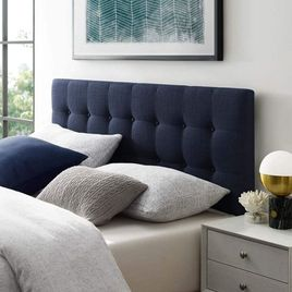 Modway Emily Tufted Button Linen Fabric Upholstered Full Headboard in Navy