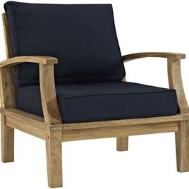 Modway EEI-1143-NAT-NAV-SET Marina Premium Grade A Teak Wood Outdoor Patio Armchair, Natural Navy