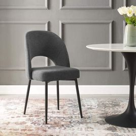 Modway Rouse Upholstered Fabric Dining Side Chair, BLK-BEI