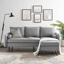 Modway Revive Modern Upholstered Fabric Right or Left Sectional Sofa Couch, Light Gray