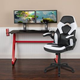 Red Gaming Desk and White/Black Racing Chair Set with Cup Holder and Headphone Hook