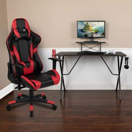 Black Gaming Desk and Red/Black Reclining Gaming Chair Set with Cup Holder, Headphone Hook, and Monitor/Smartphone Stand