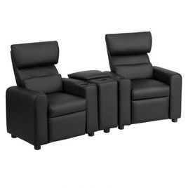 Kid's Black LeatherSoft Reclining Theater Seating with Storage Console