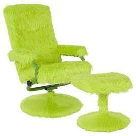 East Side Contemporary Multi-Position Recliner and Ottoman in Citrus Green Fur