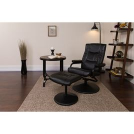 Contemporary Multi-Position Recliner and Ottoman with Wrapped Base in Black LeatherSoft