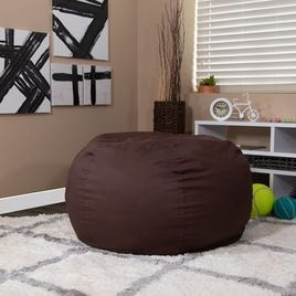 Oversized Solid Brown Bean Bag Chair for Kids and Adults