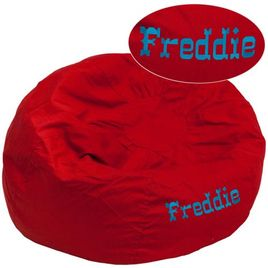 Personalized Oversized Solid Red Bean Bag Chair for Kids and Adults