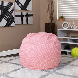Small Light Pink Dot Bean Bag Chair for Kids and Teens