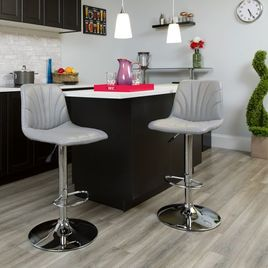 Contemporary Gray Vinyl Adjustable Height Barstool with Embellished Stitch Design and Chrome Base