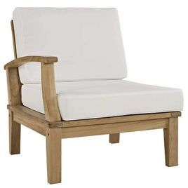 Modway Marina Teak Wood Outdoor Patio Sectional Sofa Left-Facing Chair in Natural White