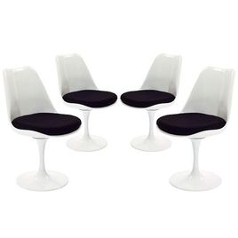 Modway Lippa Modern Dining Side Chairs With Fabric Cushion in Black - Set of 4