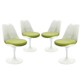 Modway Lippa Mid-Century Modern Upholstered Fabric Swivel Four Dining Chairs in Green