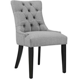 Modway Regent Modern Elegant Button-Tufted Upholstered Fabric Dining Side Chair With Nailhead Trim in Light Gray