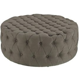 Modway Amour Fabric Upholstered Button-Tufted Round Ottoman in Granite