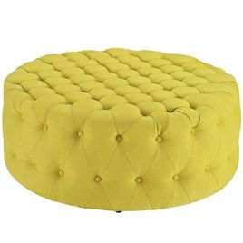 Modway Amour Fabric Upholstered Button-Tufted Round Ottoman in Sunny