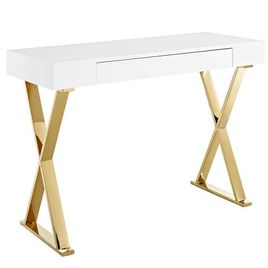 Modway EEI-3032-WHI Sector, Console Table, White Gold