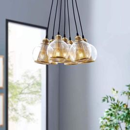 Globe Cluster Pendant Chandelier in Brass Cone and Glass