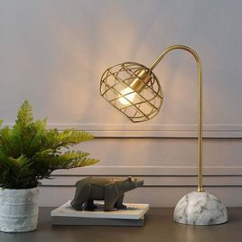 Faux Marble Table Lamp in Brass and White