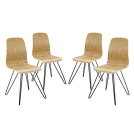 Modway Drift Mid-Century Modern Bentwood Four Kitchen and Dining Room Chairs in Natural