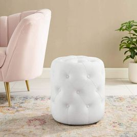 Anthem Tufted Button Round Faux Leather Ottoman