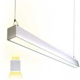 Euri Lighting EUD4-50W103sw, Linkable 4FT CCT Tunable Linear Up/Down Light, 50W, 6500lm, 3000K/4000K/5000K, 120-277V, Damp Rated, 0-10V Dimmable, ETL & DLC Certified, 5YR, 50K HR Warranty, Silver