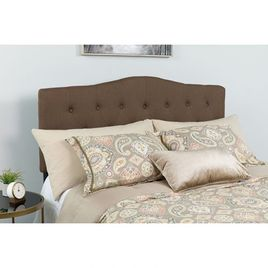 Cambridge Tufted Upholstered King Size Headboard in Dark Brown Fabric
