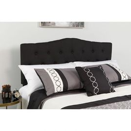 Cambridge Tufted Upholstered Twin Size Headboard in Black Fabric
