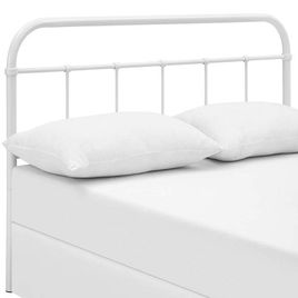 Modway MOD-5537-WHI Serena Rustic Farmhouse Style Steel Metal King Headboard Size in White