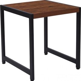 Grove Hill Collection Rustic Wood Grain Finish End Table with Black Metal Frame
