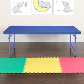 4.93-Foot Kid's Blue Plastic Folding Table
