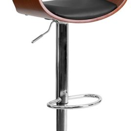 Walnut Bentwood Adjustable Height Barstool with Cutout Padded Back and Black Vinyl Seat